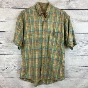 Vtg Woolrich Medium Short Sleeve Button Down Plaid